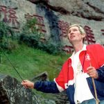 Jay Cochrane checks a guide wire for the Great China Skywalk over the Yangtze River deep in Qutang Gorge on October 19, 1995. The letters on wall behind are ancient naming the gorge. Covered by water after dam completion. Jay Cochrane, the world's premiere high wire walker, completes his first skywalk of the summer in Niagara Falls, Canada, on Thursday, July 6, 2007 as he passes by the Skylon Tower. Cochrane will skywalk twice daily on the 1,000 foot long wire between his two specially made 200 foot tall towers (20 stories). In the ten-week schedule, Cochrane will walk over 20 miles on the wire. Called
