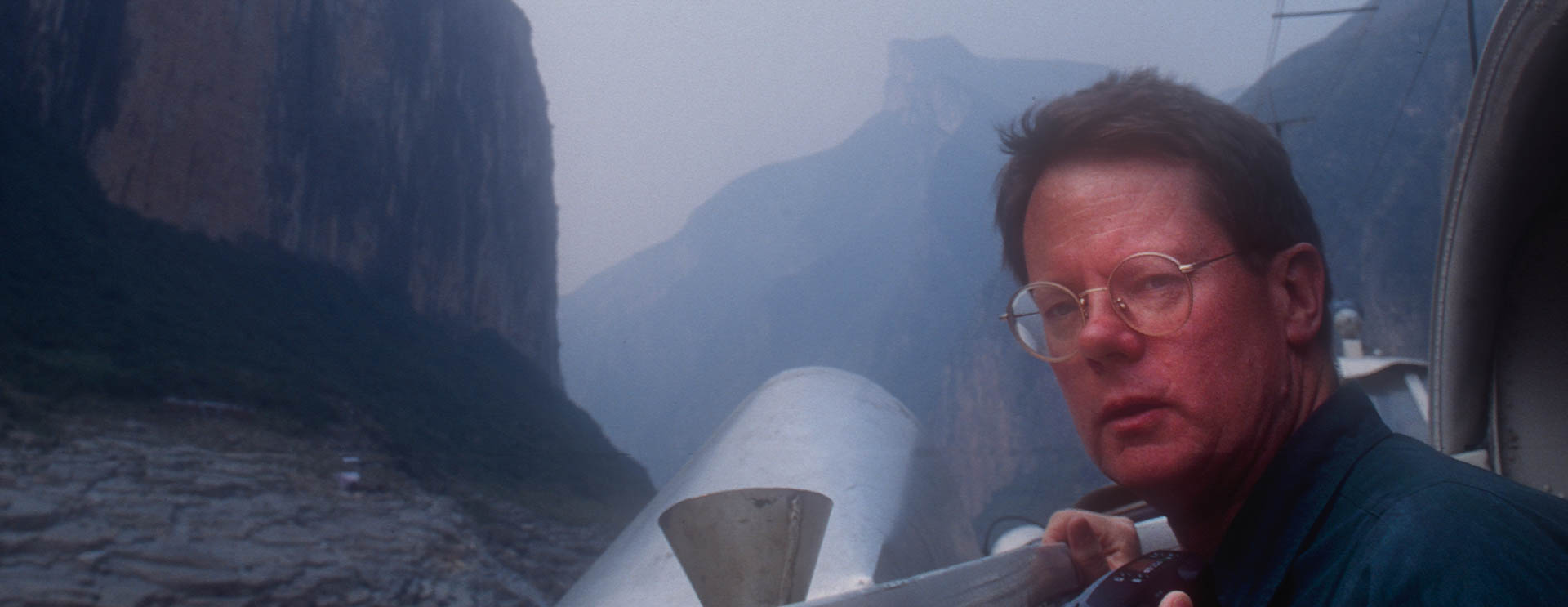 Rik Paulsen under Jay's wire in Qutang Gorge in Fengjie, China, in October 1995.