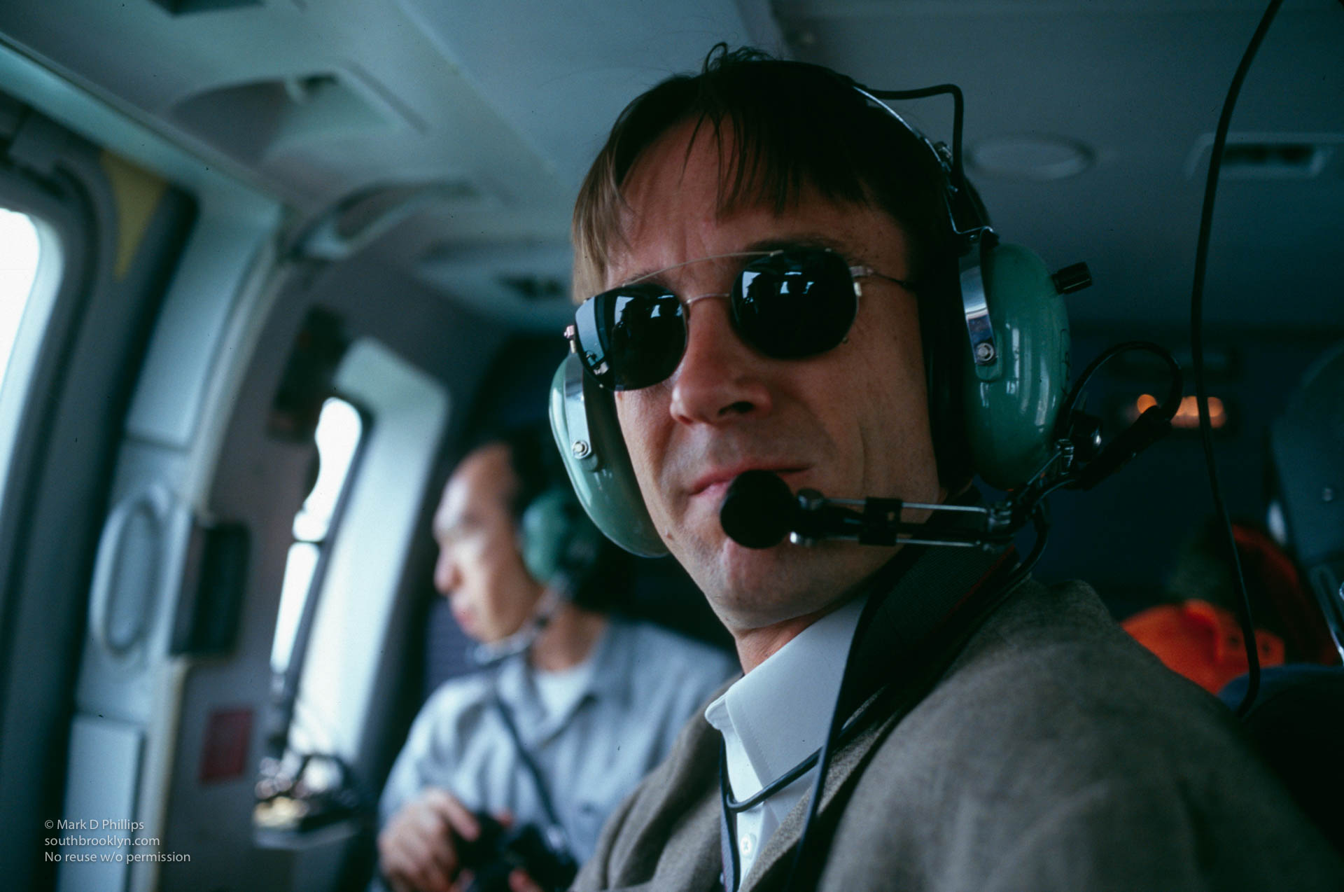 Mark D Phillips in helicopter over Qutang Gorge and the Yangtze River, Mark D Phillips