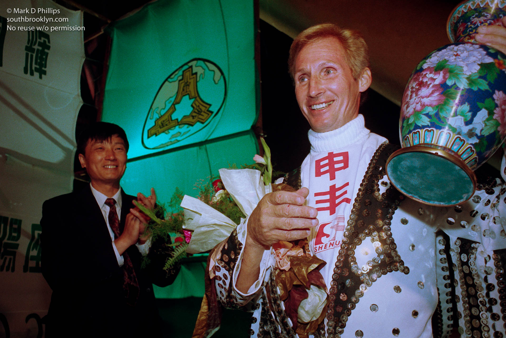 Jay Cochrane completes his skywalk in Shanghai, China, for the opening night of the Shanghai Tourism Festival on September 24, 1996.